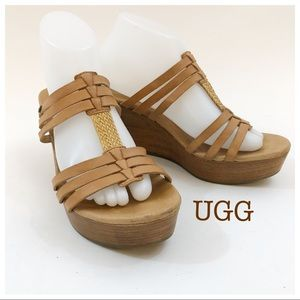 UGG Tan Size 9 Stacked Wedge Sandals